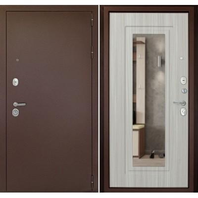 Входная дверь Рубикон Зеркало Сандал белый